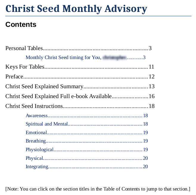 Christ Seed Timing Christ Seed Calculation page improved, redesigned